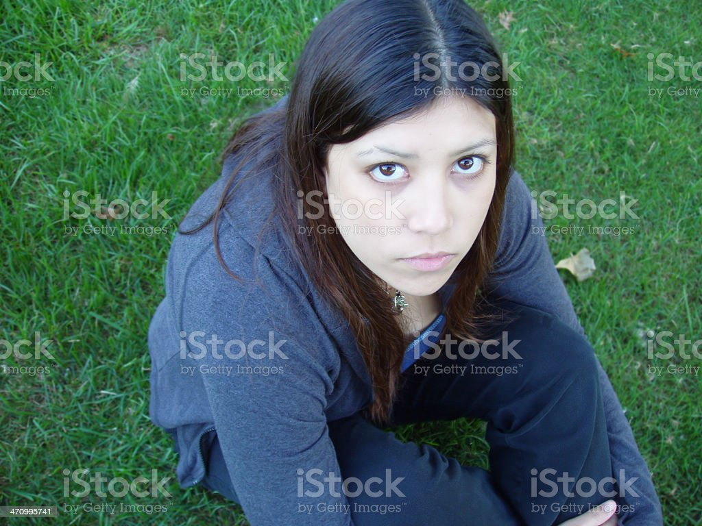Young girl looking up stock photo