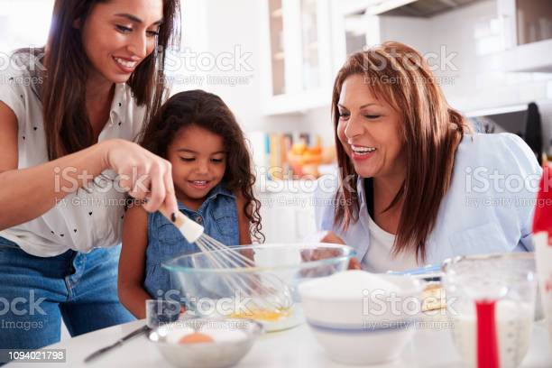 Young girl making a cake in the kitchen with her mum and grandmother picture id1094021798?b=1&k=6&m=1094021798&s=612x612&h=vvj1ptvwogo7jdwy4tmzfstqmityweij jusr30pzgu=