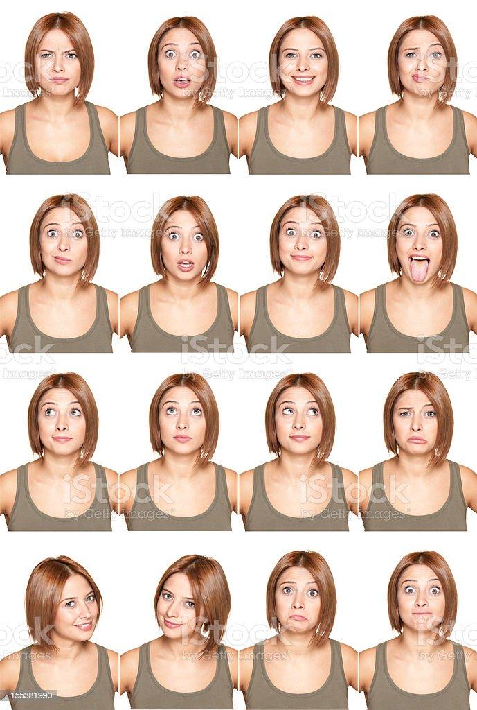 Young girl making facial expressions stok fotoğrafı
