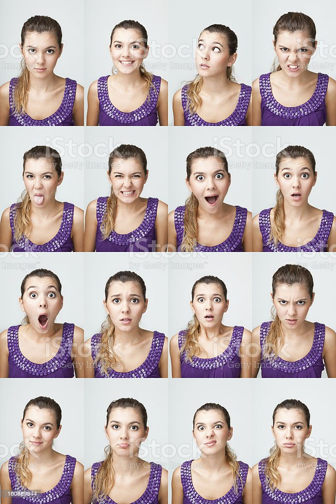 Young girl making facial expressions stock photo