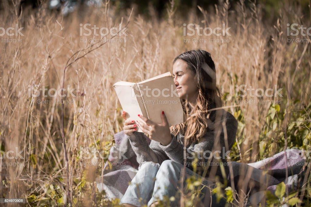 Chica Joven En Un Campo De Lectura De Un Libro Foto De Stock Y Mas Banco De Imagenes De Acogedor Istock