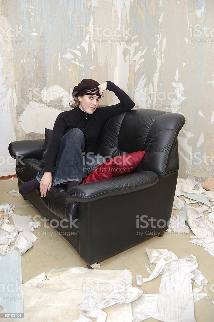 Young girl on a sofa royalty-free stock photo