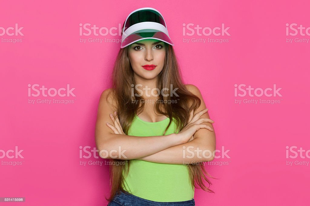 Young Girl On Pink Background stock photo