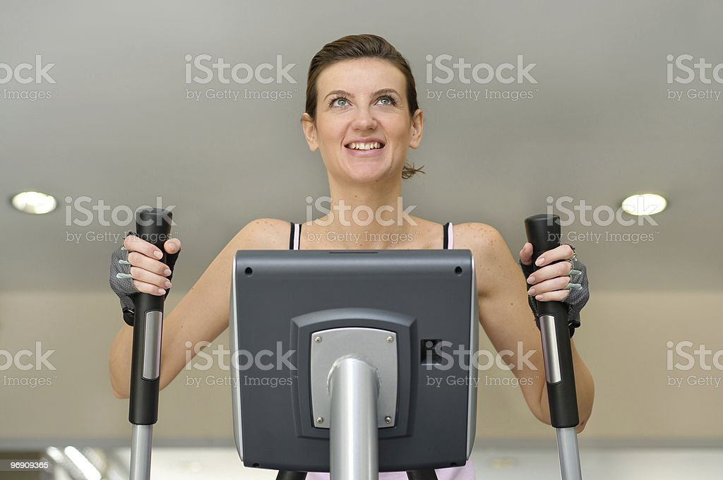 Young girl on treadmill royalty-free stock photo