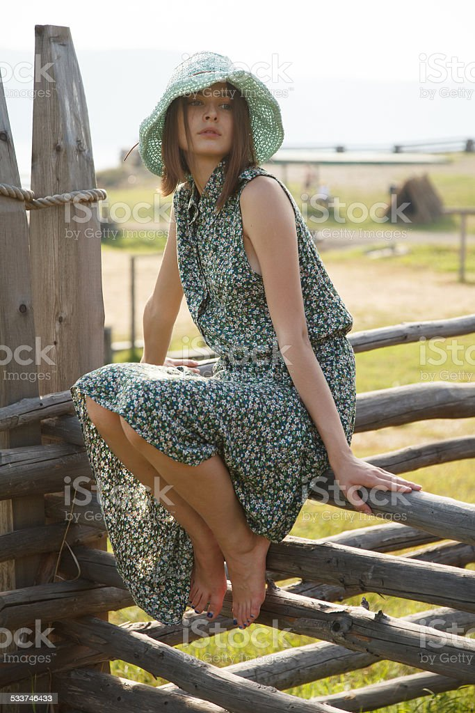 Young girl on wood fence stock photo