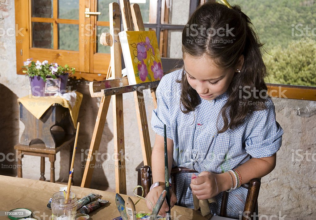 Young girl painting royalty-free stock photo