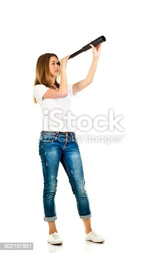 young girl with telescope isolated on a white background
