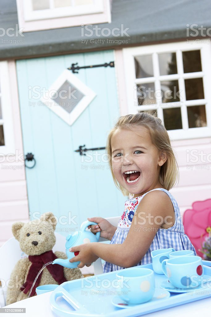 Young girl playing outdoors royalty-free stock photo