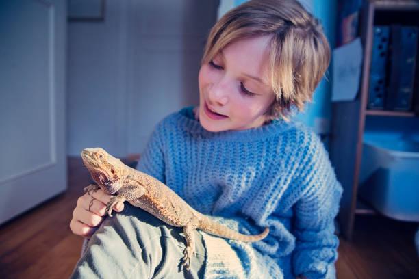 Junge Mädchen spielen mit ihrem Haustier Echse in ihrem Schlafzimmer. – Foto