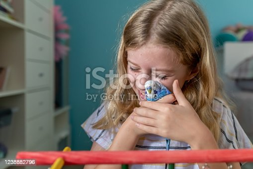 Young Girl Playing With Blue and White Pet Budgerigar In Her Bedroom