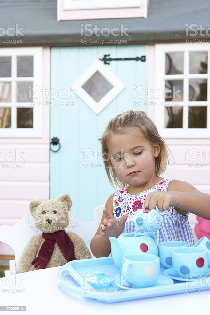 Young girl plays outdoors royalty-free stock photo