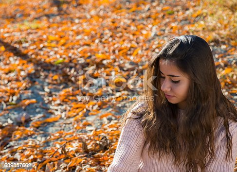 istock Young girl portrait in the fall 639857662