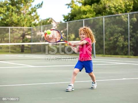 istock Young Girl Practicing Playing Tennis 657106072