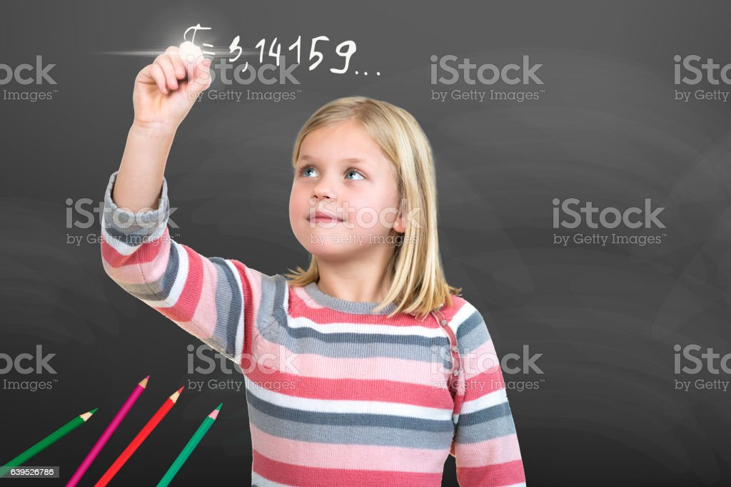 Young Girl pretending to draw with chalk stock photo