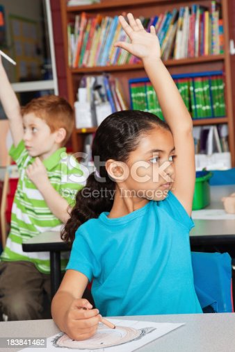639569206 istock photo Young Girl Raising Her Hand During Class 183841462