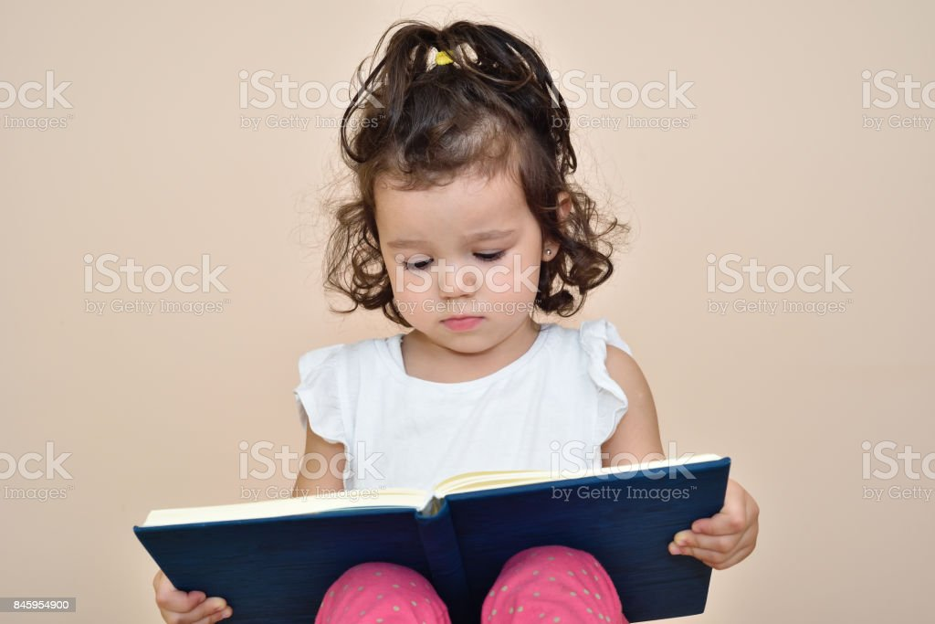 Young girl reading a book stock photo