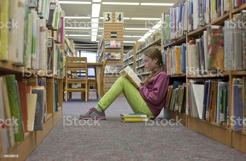 Young Girl Reading at the Public Library stock photo