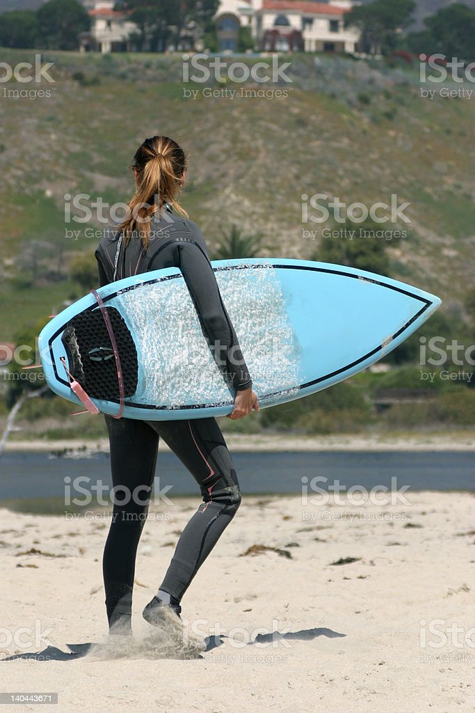 Young girl ready for surfing royalty-free stock photo