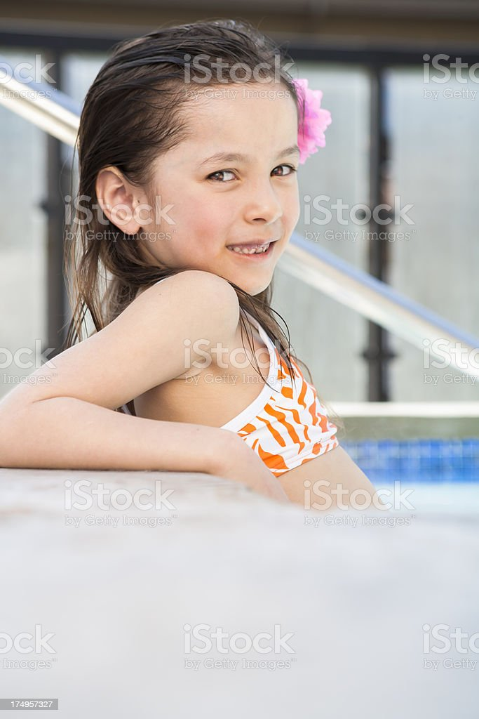 Young Girl Relaxing In The Hot Tub Royalty Free Stock Photo