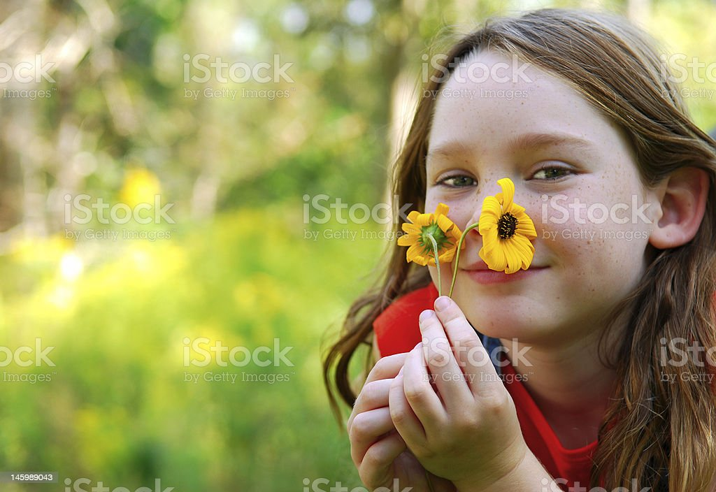 Young Girl Relaxing Outside stock photo