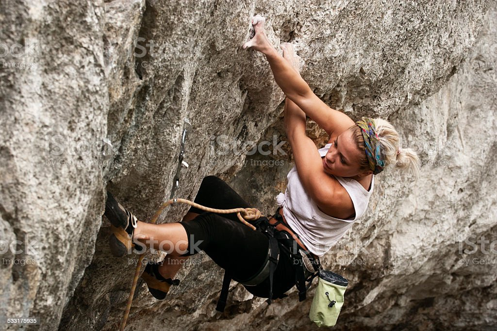 Young Girl Rockclimber stock photo