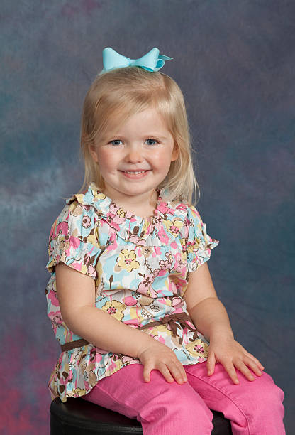 Young Girl School / Yearbook Portrait Age 3 Sitting stock photo