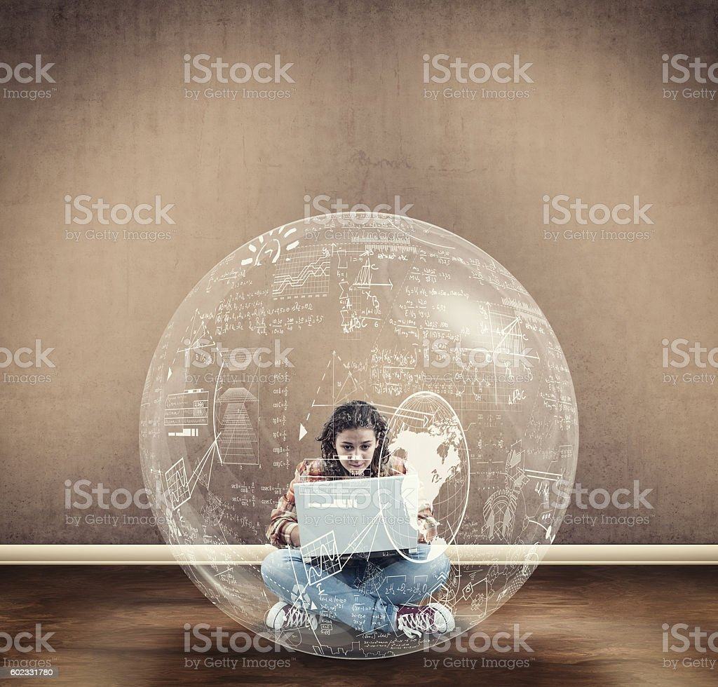 Young girl search a solution stock photo