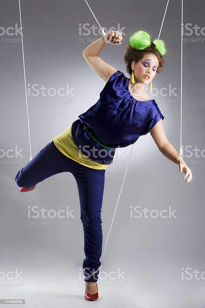 young girl showing color fashion in studio as a clown royalty-free stock photo