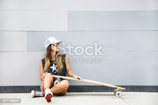 istock Young girl sitting with her skateboard and smiling. 477766041