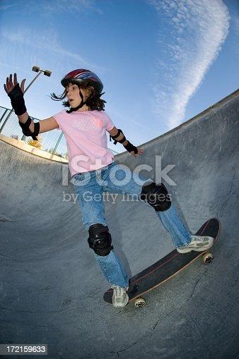 92451800 istock photo Young Girl - Skateboard Practice 172159633