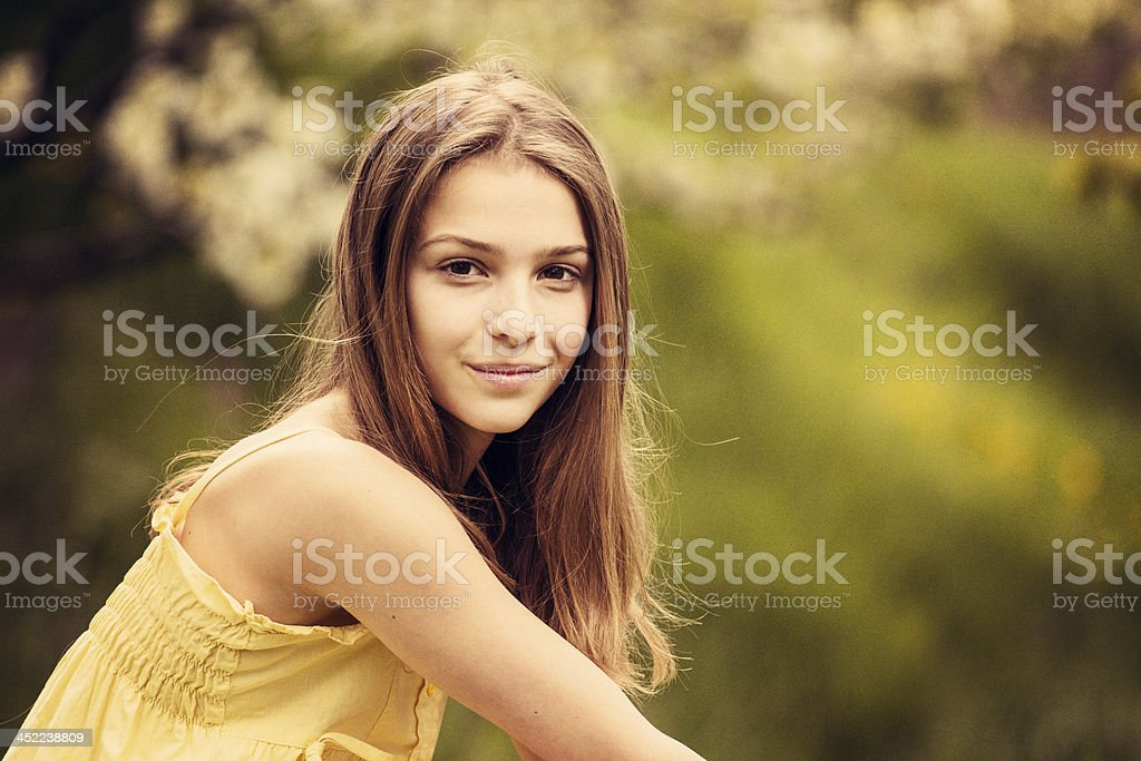 Young girl smilling stock photo