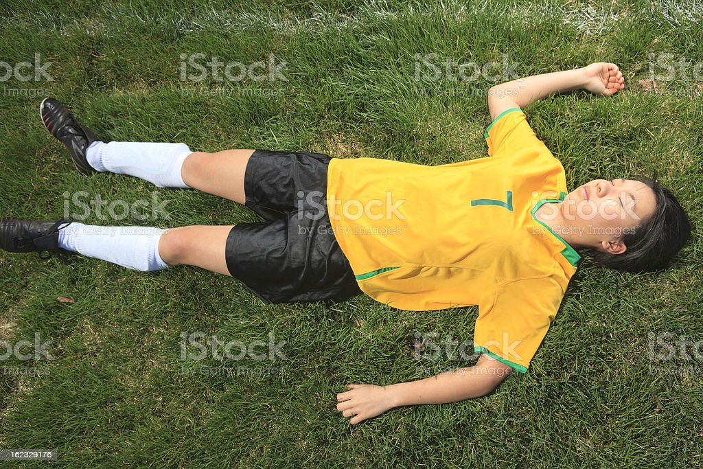 Young Girl Soccer - Accident stock photo