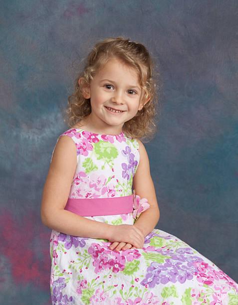 Young Girl Studio School / Yearbook Portrait Age 4 stock photo