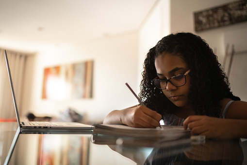 Young girl studying at home
