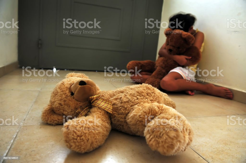 Young Girl Suffers from Domestic Violence royalty-free stock photo