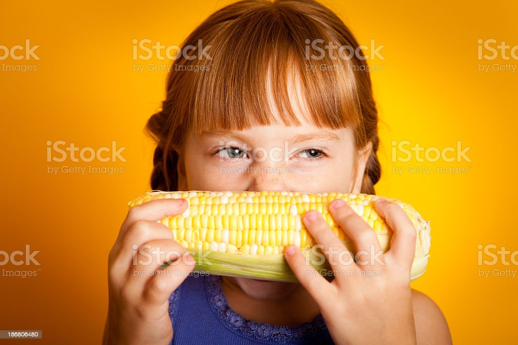 Young Girl Taking a Bite of Corn on the Cob royalty-free stock photo