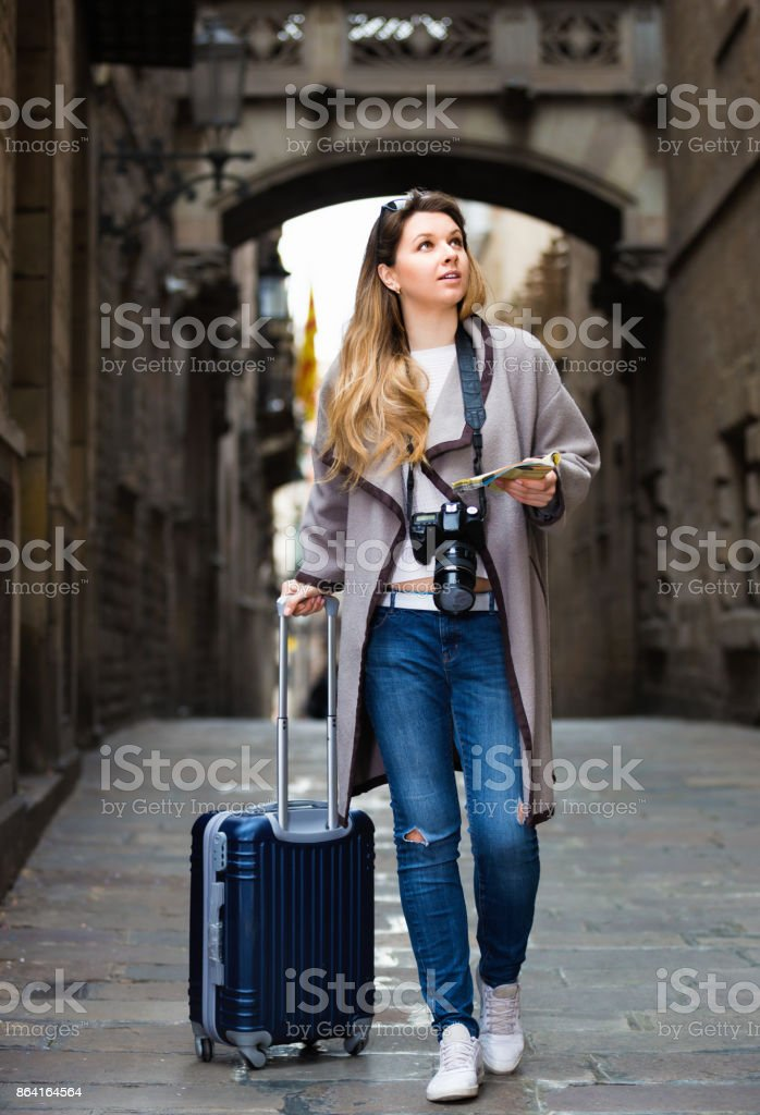 Young girl taking a journey in the city royalty-free stock photo