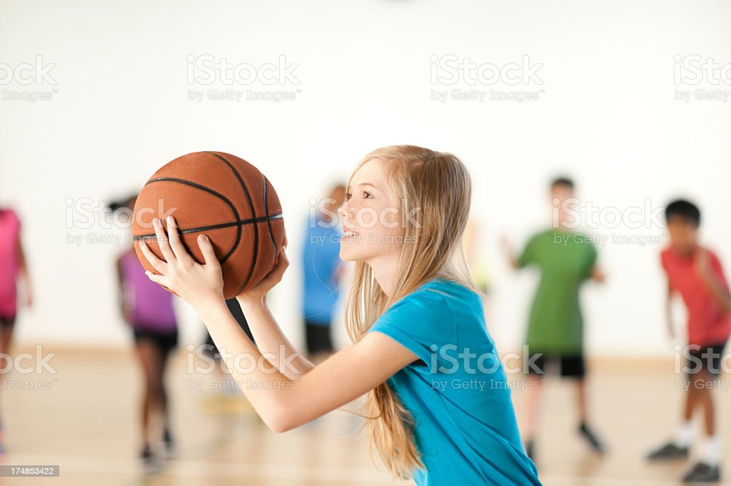 Young Girl Taking Free Throw stock photo