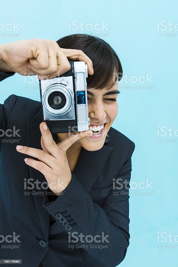 Young girl taking photos royalty-free stock photo