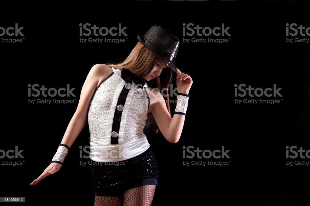 Young girl tap dancer in costume stock photo
