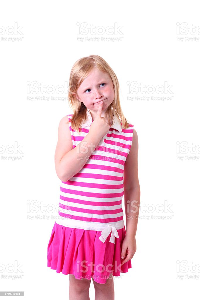 young girl thinkg stock photo