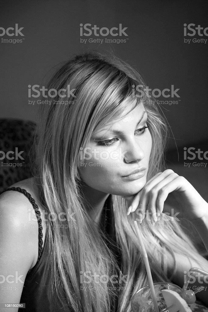 Young Girl thinking - Black and White Portrait royalty-free stock photo