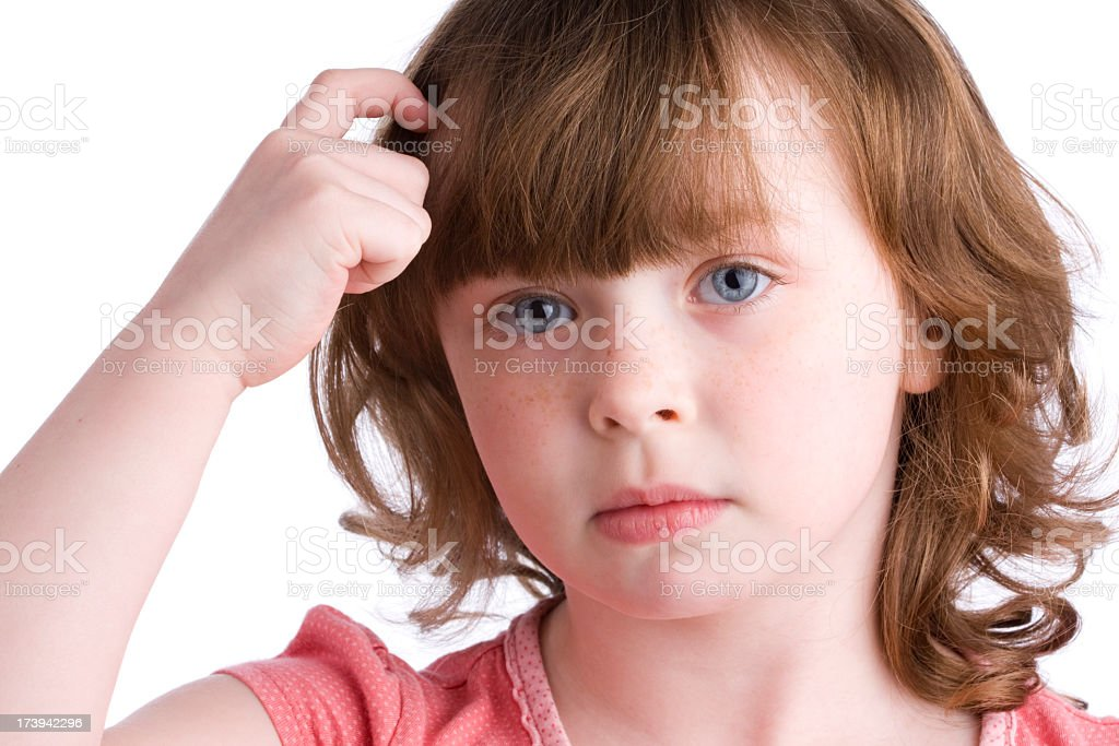 Young Girl thinking hard royalty-free stock photo