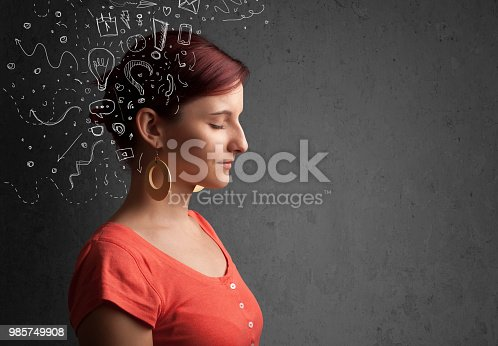 861553788 istock photo Young girl thinking with abstract icons on her head 985749908