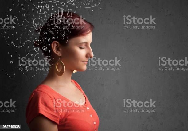 Young girl thinking with abstract icons on her head picture id985749908?b=1&k=6&m=985749908&s=612x612&h=swfvaubtk6r8c k4jkjgqzg14ljktf59g1boyqbit8m=