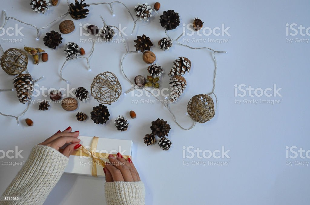 A young girl ties the bowl on the white box a present stock photo