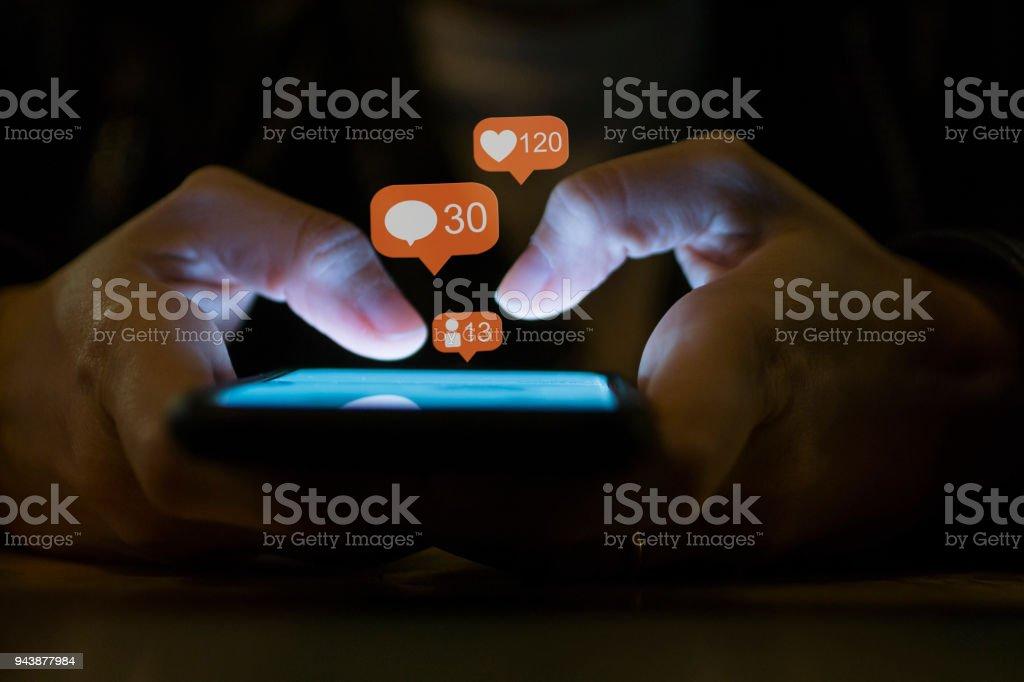Young Girl Using Smart Phone Social Media Concept stock photo