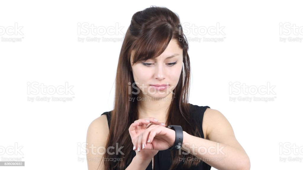Young Girl Using Smartwatch, White Background stock photo