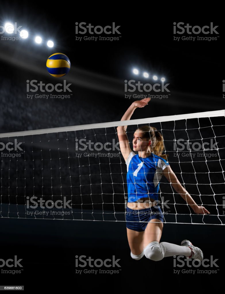 Young girl volleyball player stock photo