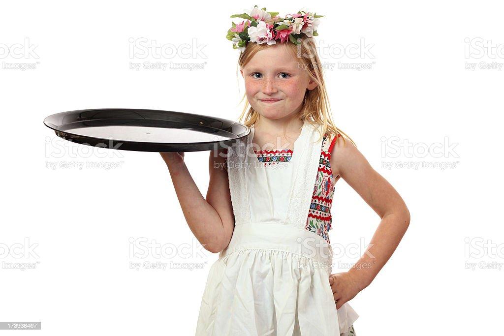 young girl waitress stock photo